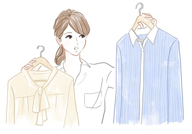 服を迷う女性のイラスト