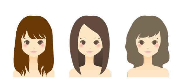 髪色に眉毛の色も合わせるイラスト