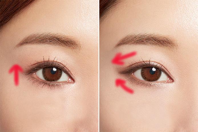 アイラインの引き方で目の印象が変わるを説明する写真