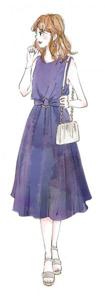 青い服を着た女性のイラスト