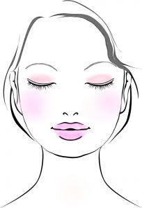 ピンク色で合わせすぎた顔のイラスト