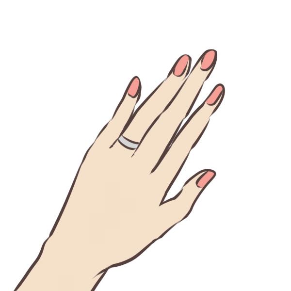 指輪をする女性の手元のイラスト