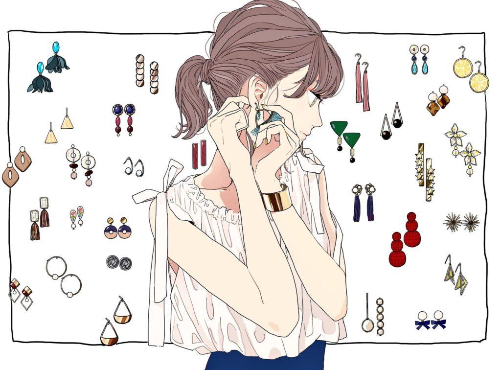 ピアスを付ける女性のイラスト