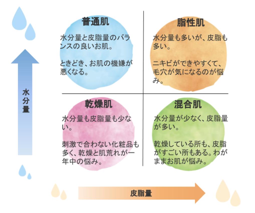 肌の特徴と種類の表