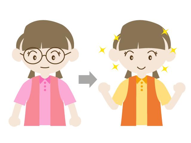 眼鏡からコンタクトにチェンジ 眼鏡からコンタクトにイメチェン