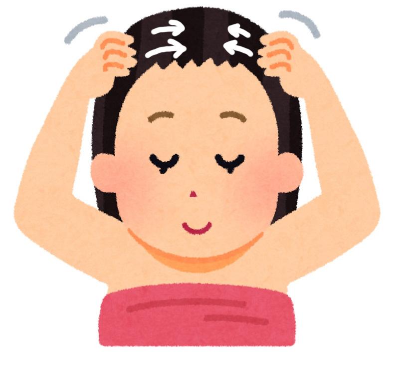 頭皮マッサージする女性 頭皮のむくみをチェックする女性