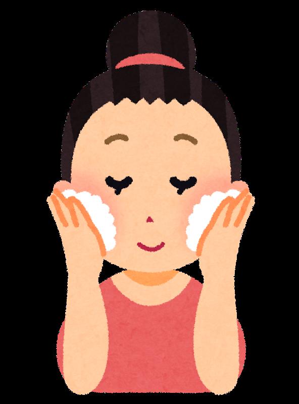 顔周りのニキビのイラスト 顔周りのニキビには洗顔が大切です