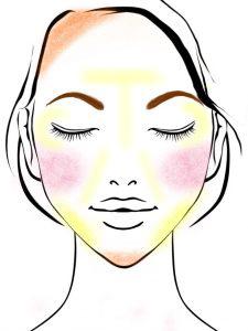 顔の形(輪郭)別メイクの図 逆三角形の顔のメイク方法(ハイライトの入れ方)