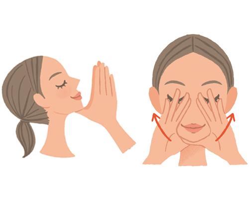 自分で小顔になるようにマッサージをしている女性のイラスト