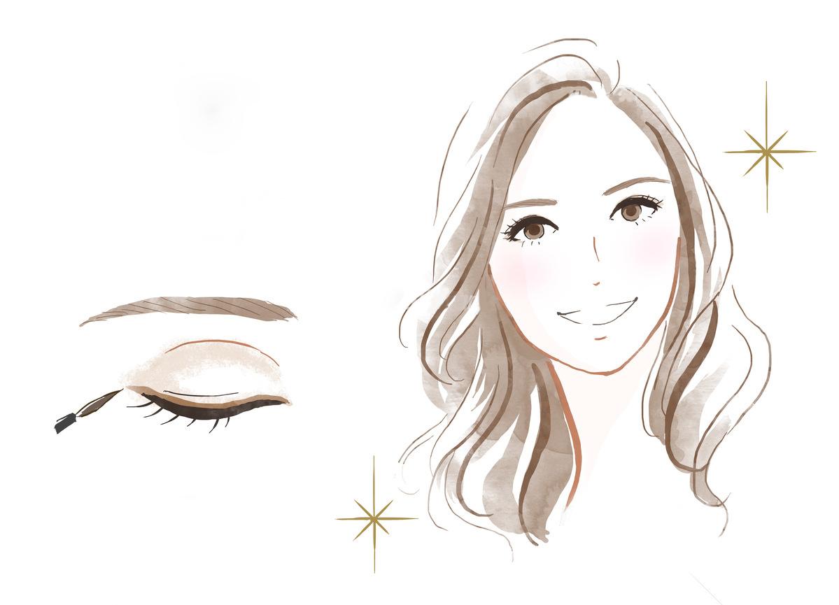 美人眉の女性のイラスト