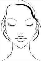 顔の形(輪郭)別メイクの図 逆三角形の顔のメイク方法
