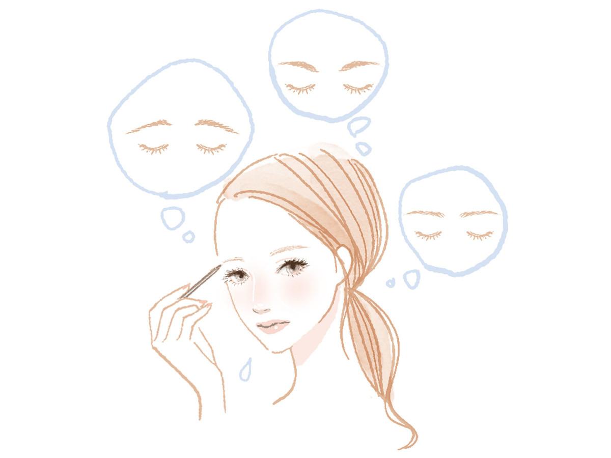 眉毛の書き方を悩む女性のイラスト