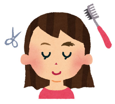 髪の毛切る女性のイラスト