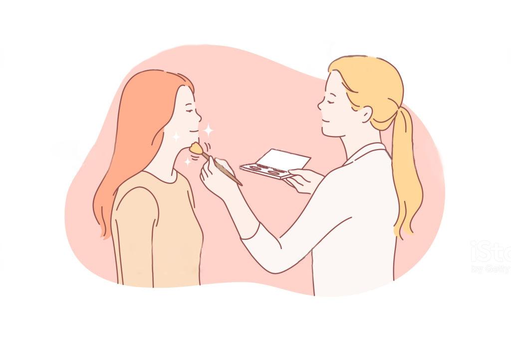 化粧をする女性と化粧をして貰う女性のイラスト