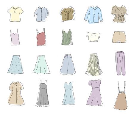 女性の服装のイラスト