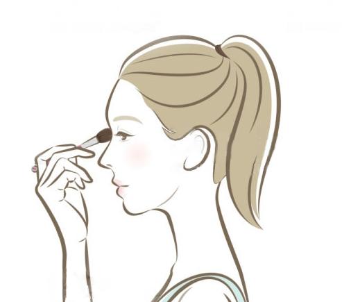 アイメイクをする女性のイラスト