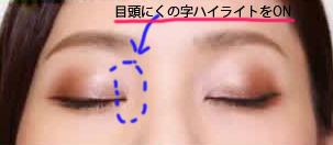 寄り目さんのアイメイク方法を説明している写真