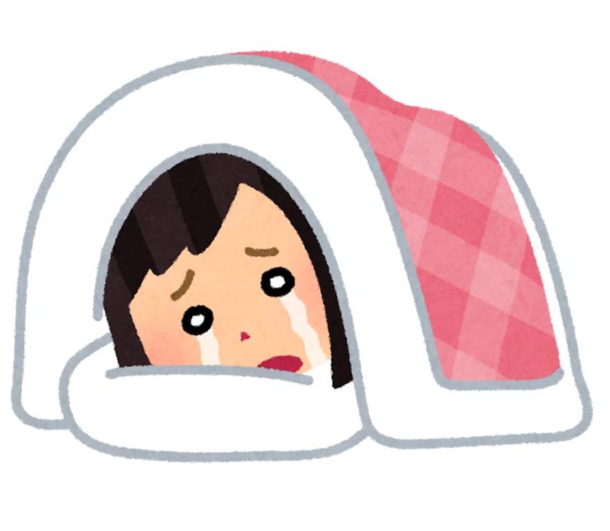 お布団の中で泣く女性