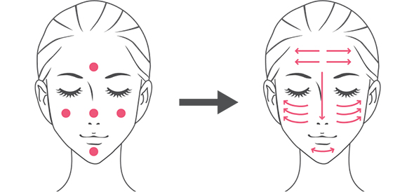 化粧下地を付けるポイントのイラスト