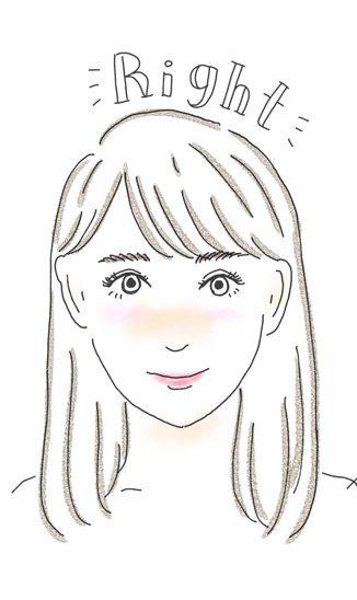 前髪を右に分けている女性のイラスト