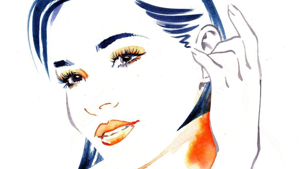 顔の濃い女性のイラスト