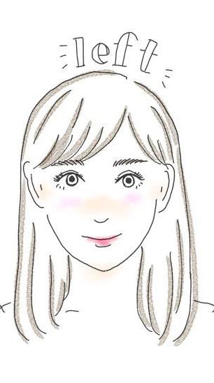 前髪を左に分けている女性のイラスト