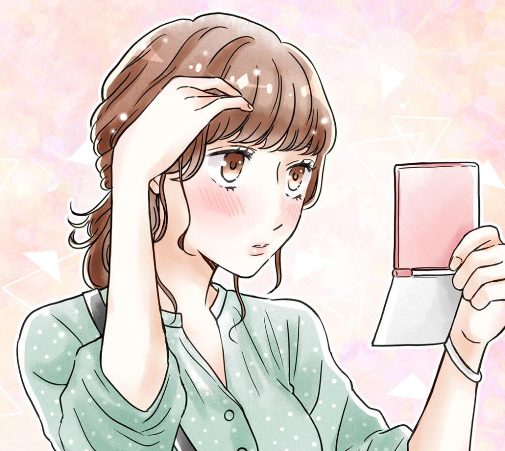 前髪を気にしている女性のイラスト