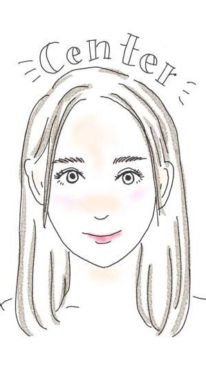 前髪をセンターに分けている女性のイラスト