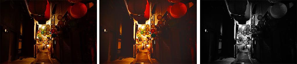 提灯明かりの町並み風景の画像を加工した写真
