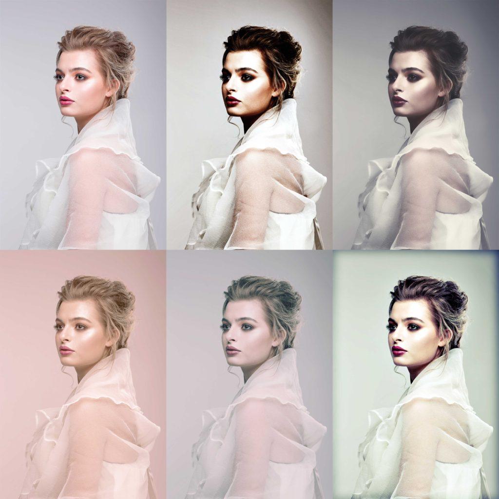 女性の写真の色味を加工した写真