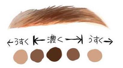眉毛の色味を描いたイラスト
