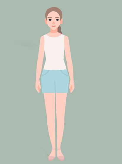 オーディションの服を来ている女性のイラスト