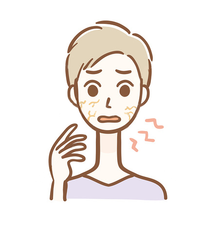 乾燥肌の男性のイラスト