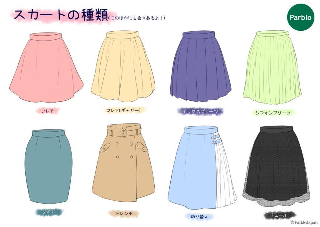 スカートの種類のイラスト