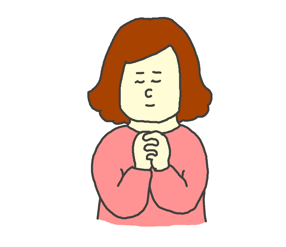 女性が祈っているイラスト