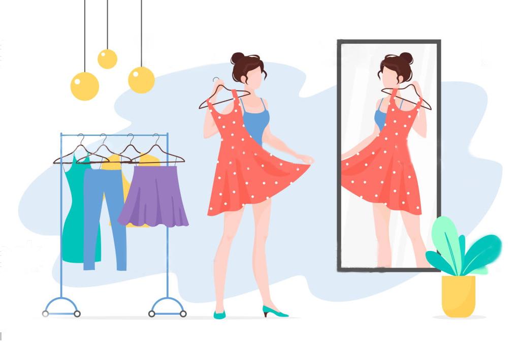 女性が服を選んでいる様子のイラスト