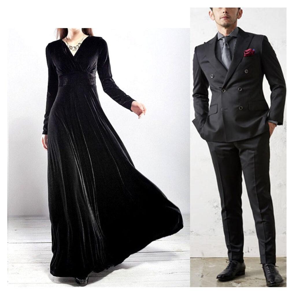 黒い服の男性と女性の写真