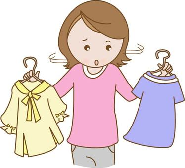 服を選ぶのに迷っている女性のイラスト