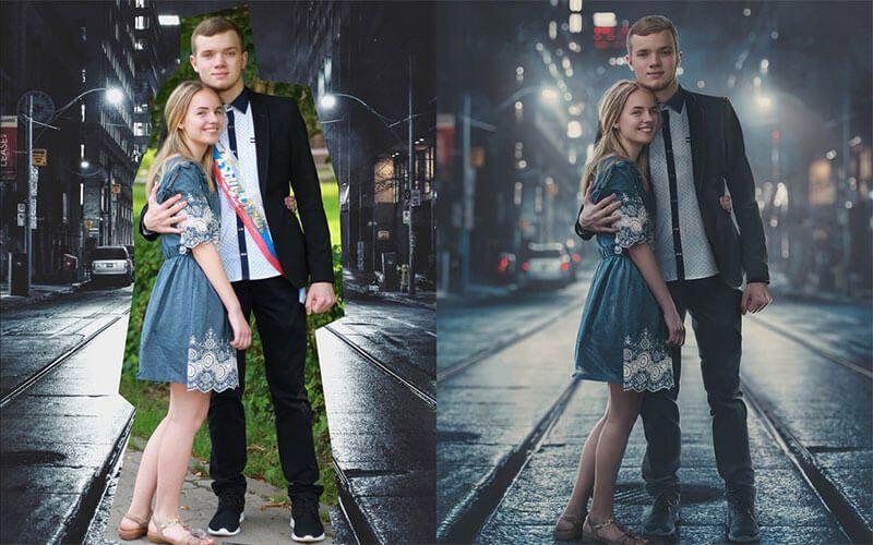背景と人物を合成した写真