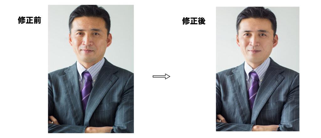 男性の修正前と修正後の比較画像